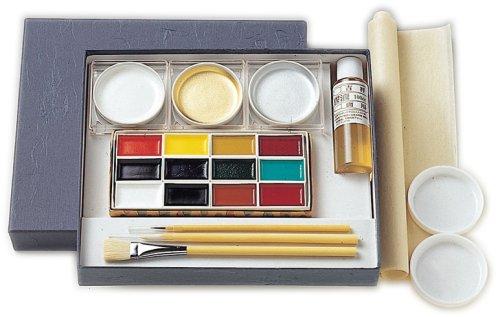 Japanische Tuschmalerei Pan Aquarellfarben und Kalligraphie Set - 12 Farben Pan plus Gold, Silber...