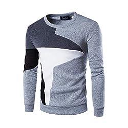 Xmiral Herren Sweatshirt Pullover Langarm Patchwork Tops Bottoming Shirt S-XL (XL, Y Grau)