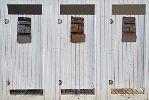 Ashwood Hanging Wash / Shaving Bag - Leather & Canvas - Brown