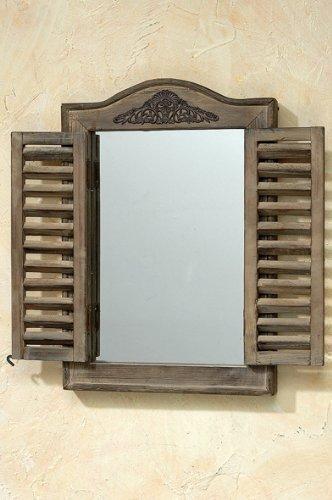 Kleiner Wandspiegel mit Fensterladen Holz im Used-Look