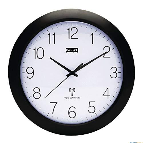 EQT-TEC Funkgesteuert Wanduhr 30 cm analog Design Wand Uhr zb Küche Wohnzimmer schwarz weiß
