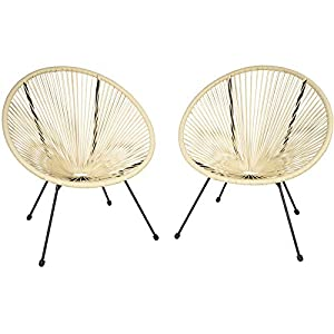 TecTake 800729 2er Set Acapulco Garten Stuhl, Lounge Sessel im Retro Design, Indoor und Outdoor, pflegeleicht, Relaxsessel zum gemütlichen Sitzen – Diverse Farben – (Beige | Nr. 403305)