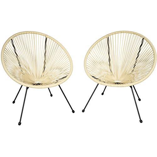 tectake 800729 2 Fauteuils Acapulco de Jardin de Salon Design rétro, pour Un Usage en intérieur et extérieur - Plusieurs Couleurs - (Beige   no. 403305)