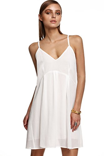 ZEARO Damen Kleider Chiffon Ärmellos Trägerkleid Hohe Taillen Backless Knielang Partykleid Strandkleid Sommerkleider Weiß
