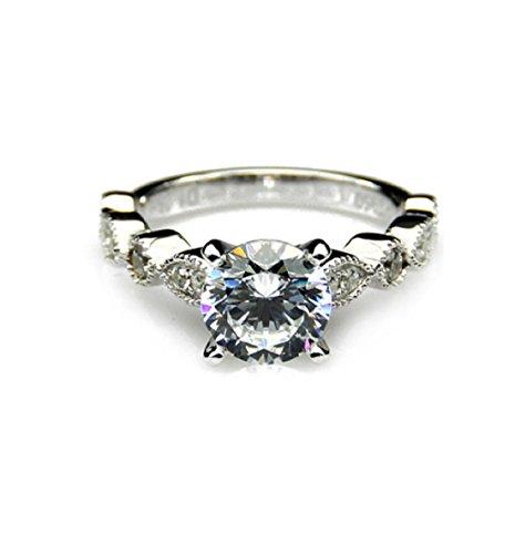 Gowe 1Karat moissanites 14K Weiß Gold Vintage Akzente Verlobungsring Lab gewachsen Diamant (Akzent Verlobungsring)