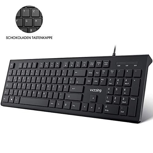 VicTsing Tastatur USB, 105 Tasten Chiclet PC Tastatur, QWERTZ, Wired USB Tastatur kabelgebund 2.0/Ergonomische Tastatur, 1,5m Kabel Office Keyboard für Windows 98/ XP/ 7/8/10/ Vista, Mac, Schwarz -