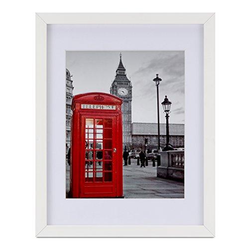 Onewall Bilderrahmen, 28 x 35 cm Fotorahmen aus gehärtetem Glas mit 2 Matten für 20x 25 cm oder 13x 18 cm Rahmen aus Holz für Wand- und Tischdisplays 1 Stück Weiß