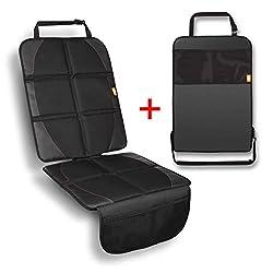 BUTIKA Kindersitzunterlage für Auto + GRATIS Trittschutz - Premium Sitzschoner und Rückenlehnenschutz - ISOFIX geeignet - Autositzschoner NEU Schwarz