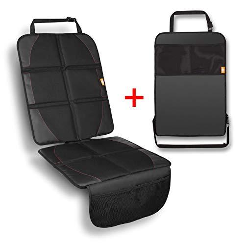 BUTIKA Premium Kindersitzunterlage für Auto + GRATIS Trittschutz - Sitzschoner und Rückenlehnenschutz - ISOFIX geeignet - Autositzschoner NEU