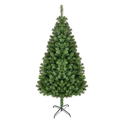 Homfa Árbol de Navidad Artificial de Pino PVC con Soporte Metálico Verde 180cm 850 Ramas
