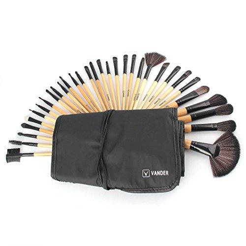Smileq 32 pcs professionnel souple Cosmétique sourcils Ombre Lot de Outil de brosse de maquillage Sac, doré