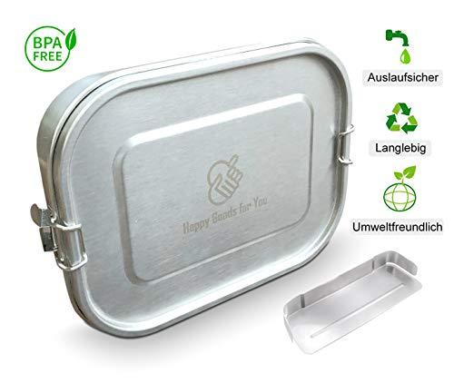 Happy Goods Eco Brotdose Edelstahl Auslaufsicher 1400ml mit herausnehmbarer TRENNWAND und Hochwertiger Schnappverschluss für Kinder und Erwachsene