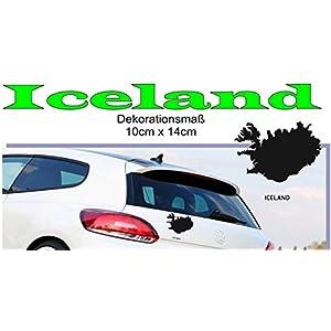 MAPS - Länder Autoaufkleber Silhouette ***ICELAND*** 10cm x 14cm (Farbauswahl)