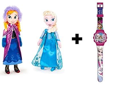 Frozen - Peluche princesas Elsa & Anna 40cm Calidad super soft + Reloj digital por frozen