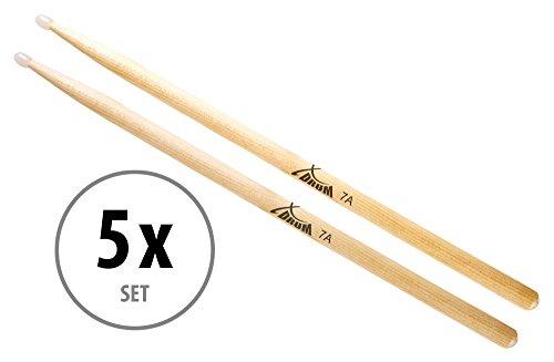 5 Paar XDrum Schlagzeug Sticks 7A Nylon Tip (tropfenförmiger Nylonkopf, Länge: ca. 392 mm)