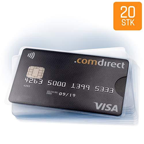 20 x Kreditkartenhülle - Karten Schutzhülle zum Schutz von EC Karte, Bankkarte, Ausweis - transparent und flexibel - extra dünner Kunststoff für Flache Geldbörse - FABACH™