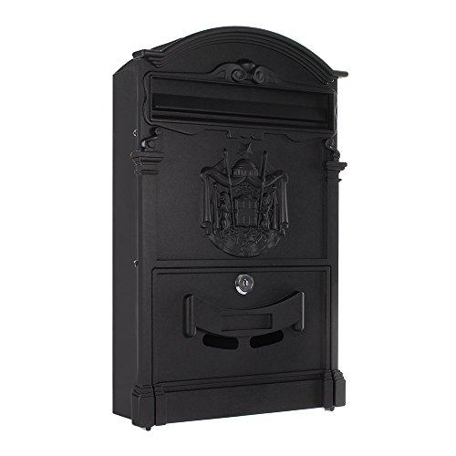 Rottner Briefkasten Ashford Schwarz, Alubriefkasten, Mailbox, Britischer Postkasten, Englischer Briefkasten, Nostalgie-Briefkasten, Namensschild, Sichtfenster