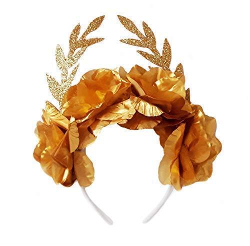 Griechische Göttin Kostüm Blumenkranz Lorbeerkranz Römer Karneval Accessoire+ 2 Armbänder für Halloween - goldene Blattkranz Haarband Lorbeerkranz