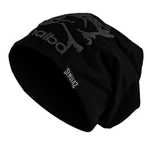 Sense42 | Long Beanie Jersey Mütze | lange Beaniemütze für Damen und Herren | in schwarz, dunkelgrau, hellgrau, bordeaux rot, blau | haibd Aufdruck