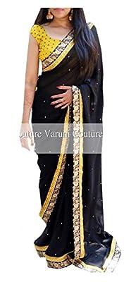 I-Brand Georgette Saree With Blouse Piece (Yellow_ISUNSA2475_Freesize)