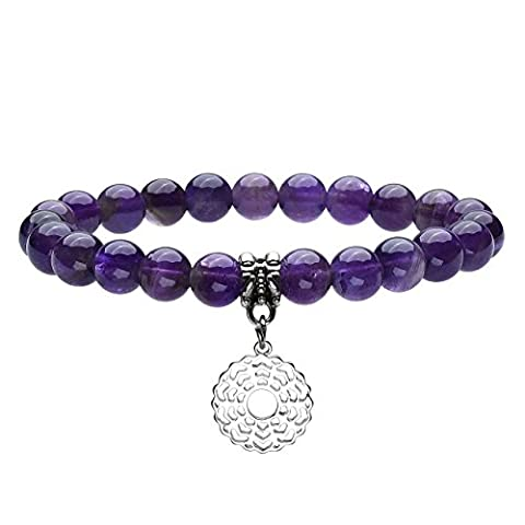 QGEM Healing Crystal Natural Amethyst/Sahasrara Beads 8mm Stretch Chakra Charms Bracelet Reiki Energy