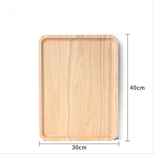 Platte Kzfs Gummi Holz Pfanne Platte Tasse Tee Tablett Dessert Abendessen Holz Platte Runde/rechteck/quadrat/ovale Form JJ1306-40x30CM Sonoma Pfanne