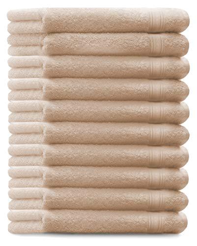 Betz. set di 10 asciugamani per ospiti asciugamano ospite salvietta asciugamano da bidet asciugamano per le mani misure: 30 x 50 cm, qualità: 600g/m² gold, colore: beige