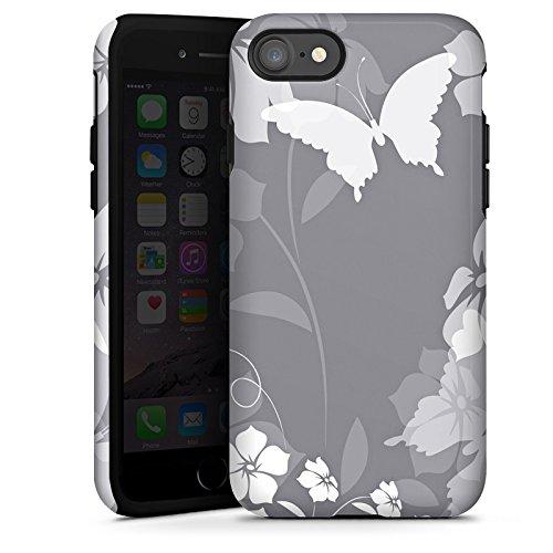 Apple iPhone X Silikon Hülle Case Schutzhülle Blume Schmetterling Grau Tough Case glänzend