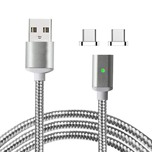 Lively Life Magnetic Type C Ladekabel Sync Ladekabel mit 2 Anschlüssen für Samsung, Huawei, MacBook, HTC, Sony und mehr USB C-Geräte 3,3ft / 1m Silber