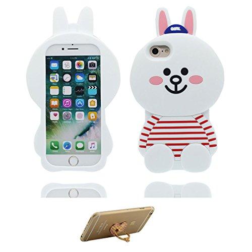 """iPhone 7 Plus Hülle, 3D Cartoon Einhorn Cover Unicorn iPhone 7 Plus handyhülle (5.5 zoll) flexible TPU Shell iPhone 7 Plus case (5.5""""), Staub Rutsch kratzfest und Ring Ständer Weiß"""