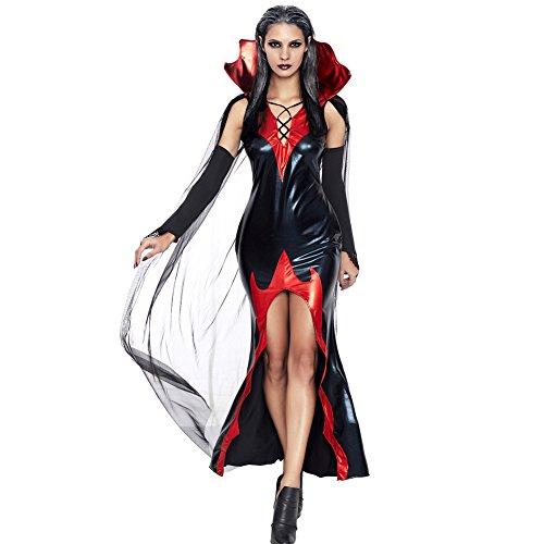 Romacci Damen Halloween Kostüm Vampir Kleid Kostüm mit Kap Handschuhe Schwarz