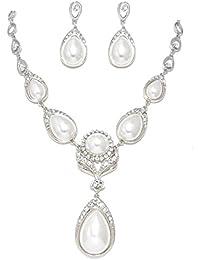 Schmuckanthony Best Seller Hochzeit Schmuckset Kette Brautschmuck Ohrringe Perlen warm Weiß Kristall klar Transparent