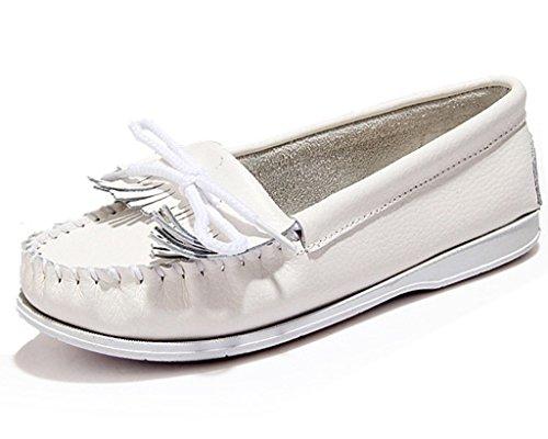 Mine Tom Mujeres Niñas Verano Zapatos Del Barco Zapatillas De Mocasín Talón Plano Zapatos Con Borlas Blanco