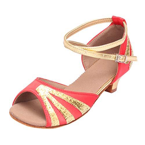 Sandalias de Vestir Lentejuelas Zapatos de Baile Mujeres Zapatos de Latino Baile Tacón Bajo para Mujer...