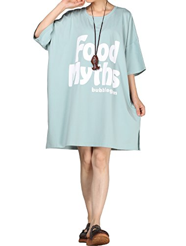 Vogstyle Damen Sommer Plus Größen T-Shirt Kleid Bedruckte Tunika Oberseiten Light Blue