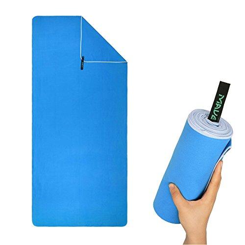 Premium XXL Mikrofaser Badetuch mit praktischer Tragetasche [200cm x 90cm] - Ultraleicht und schnelltrocknendes Handtuch - Ideal für deine nächste Reise an den Strand (Atlantikblau)
