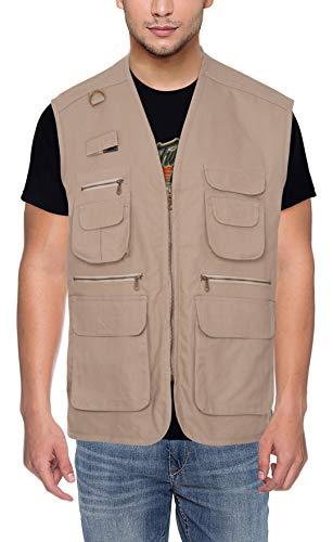 CLUB TWENTY ONE Cotton Multi Pocket Breathable Hiking Vest (Beige, Small)