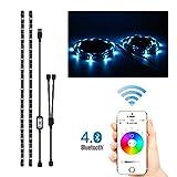 Tutmonda 2 x 1 M RGB LED Strip Light App BT Control Colorido Sincronización con música Temporizador Flexible Adhesivo Fuerte DIY TV Backlight Kit