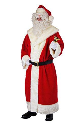 Herren-Kostm-Weihnachtsmann-Mantel-aus-Plsch-Mtze-Grtel