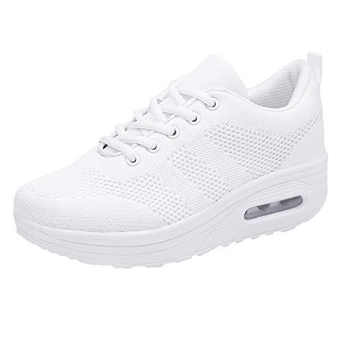 Zapatillas Casual,Mujeres de Ocio Malla Transpirable Espesor Inferior Zapatos Deportivos de Fondo Damas Zapatillas Mujer Botines Plataforma Bota Boots Ocasional Impermeable Anti Deslizante Zapatos