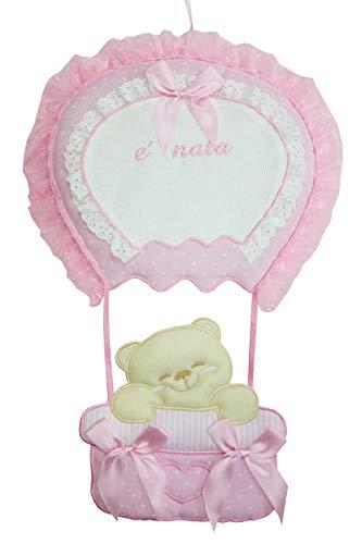 Fiocco nascita coccarda mongolfiera con tela aida da ricamare il nome del bebe' rosa lavorato del tutto a mano