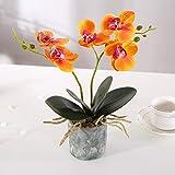 Alicemall Fleur Artificiel Orchidée Tissu en Pot Céramique pour Décoration de la Maison Bureau Chambre 12x12x30 cm (Jaune)