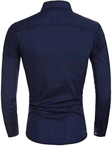 Jeansian Hommes Mode Impression Chemises Casual Manches Longues Men's Leisure Long Sleeves Slim Shirts Tops 84M6 Navy