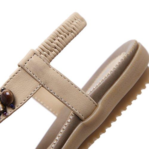 Plat Tongs Sandales Femmes de BIGTREE Plage Brillant Perles Antidérapant Semelle Souple Élastique Bohème Sandales Beige