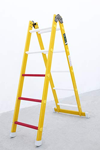 Escalera aislante de un tramo plegable. Permite su uso como escalera de un tramo o escalera de tijera...