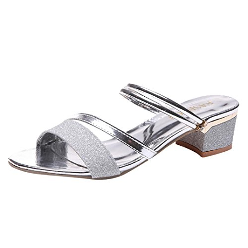 Damen Sandalen Ronamick Mode Frauen Pailletten Sandalen Ankle Mid Heel Block Party Offene spitze Flip Flop (35, Silber)
