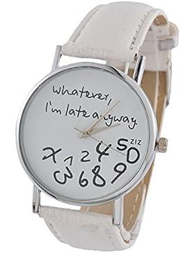 MJARTORIA Damen Armbanduhr Whatever I am late anyway Analog Quarz Damenuhr Mädchen UHr Lederarmband Weiß 24cm