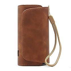DrafTor E Zigarette Tasche für IQOS 3.0, Schutzhülle aus PU Leder mit Reißverschluss und Verbindungsmittel (nur Tasche)(Kaffee)