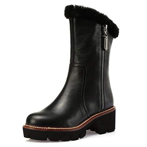 Buckle Mid High Boot - PLNXDM Damenstiefel Zipper-Stiefeletten Aus Leder Mid-Calf