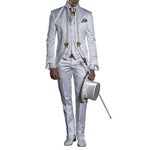 Judi Dench@ Costume Homme Hommes Parti Costume 3 pi¨¨ces veste+pantalon+gilet01 Blanc